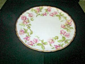 Antique-Vintage-Haviland-Limoges-France-7-1-4-034-D-Gold-Border-Plate-Pink-Roses