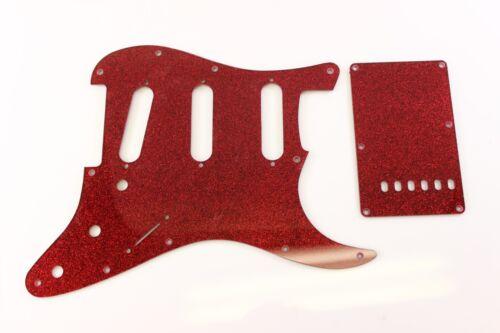trem cover set Fits Fender Strat Stratocaster Red Glitter pickguard