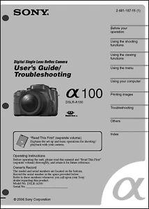 sony dslr alpha a100 digital camera user guide instruction manual ebay rh ebay com User Manual Template Instruction Manual