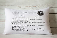 "Paris Postcard - 12 x 18 "" lumbar style cushion cover shabby vintage chic"