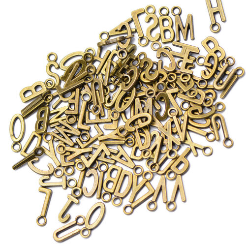 100x Letter Charms Beads Antique Bronze Alphabet Charms Alloy Pendants 15mm