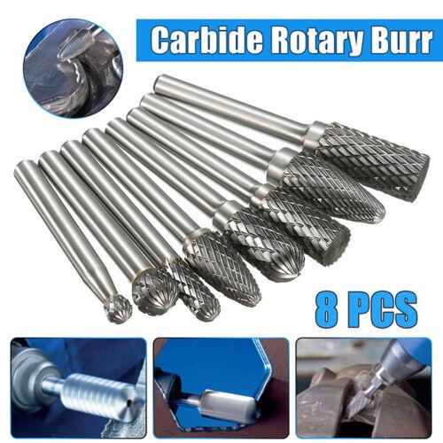 8x 1//4/'/' Shank Double Cut Carbide Rotary Burr Bur Die Grinders Carving Bit SetDS