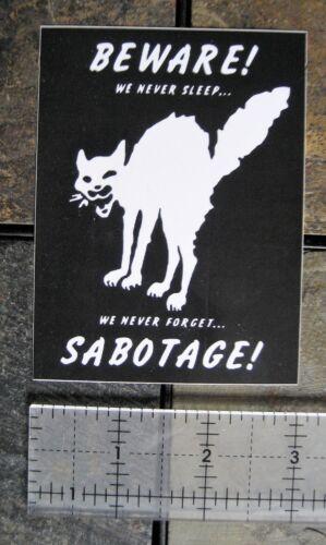 """4x3/"""" Class War Sabotage Cat VINYL Sticker  Human Liberation Anarchy Bumper Decal"""