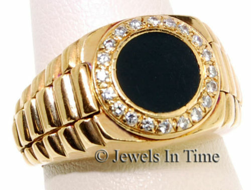 Mens Ring 18k Yellow Gold Diamond & Onyx Size 5.75