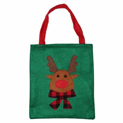 Santa Rudolf Snowman Tree 12 Mixed Christmas Xmas Soft Felt Present Gift Bags