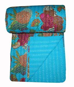 Vintage Indian Fruit Pirnt Handmade Kantha Quilt Bedspread- Queen Throw Decor