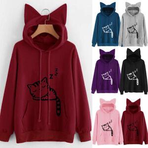 09128ed9ffe71b Image is loading Women-Cat-Ear-Hoodie-Sweatshirt-Autumn-Hooded-Sweater-