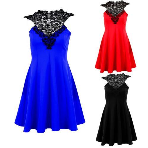 Ladies Crochet Trim Lace Tie Back Neck Women/'s Short Skater Party Dress 8-16