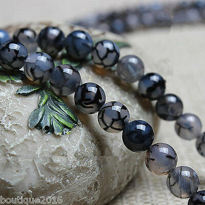 "Fine! 6-10mm Black Dragon Veins Agate Round Loose Beads 15.5""L/1stand"