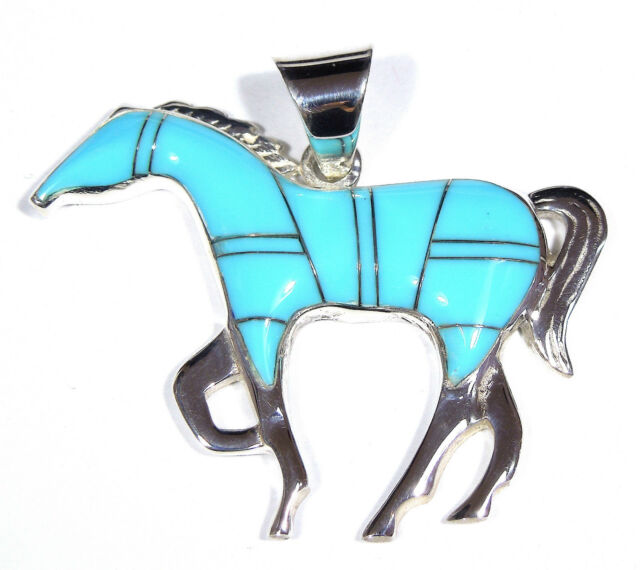 Sleeping Beauty Turquoise Inlay 925 Sterling Silver Horse Pendant For Necklace