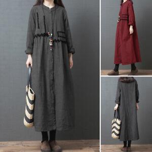 Oversize-Femme-Robe-a-carreaux-Decontracte-lache-Plaid-Manche-Longue-Dresse-Maxi