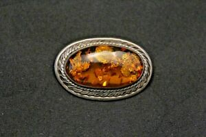 Vintage-Sterling-Silver-Baltic-Amber-Brooch-2-034-x-1-1-4-034-19-4-g