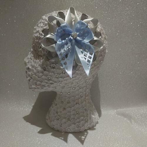 Nouveau Fait Main Délicate Découpe ARGENT//Bébé bleu grandes Harajuku Romany HAIR BOWS