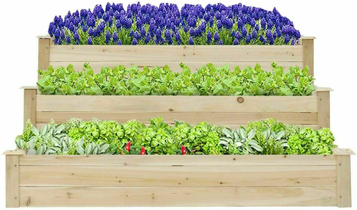 Kinbor Free Standing Plant Raised Bed with Trellis Elevated Flower Bed for Hanging Flower Baskets Patio Garden Yard