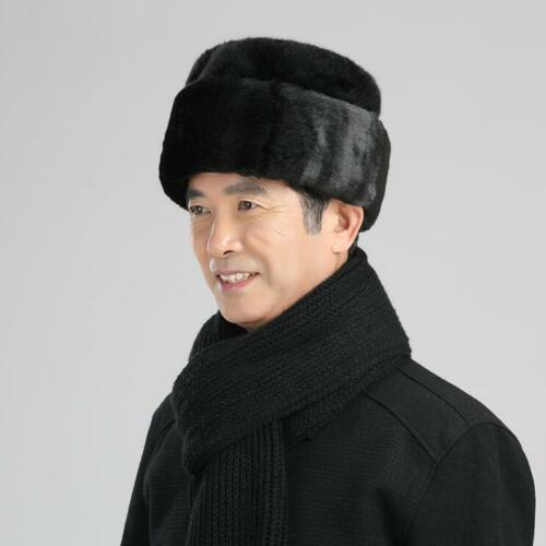 Men/'s Winter Faux Fur/&Lamb Russian Cossack Trapper Hats Black Wine Business Warm