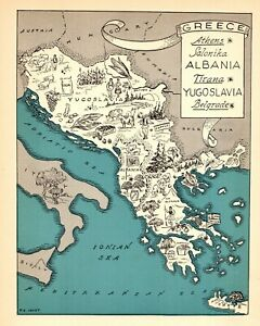 1932-Antique-Animated-GREECE-Map-RARE-Picture-Map-of-Yugoslavia-Albania-BLU-7264