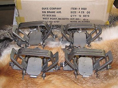 12 New Duke # 4   4X4 Coil Spring Traps  Beaver Bobcat Coyote Wolf Trap NEW SALE