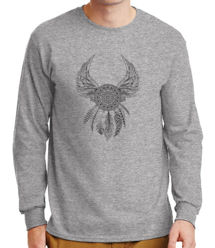 2105C Mandala Dream Catcher Mens Long Sleeve Tshirt Native American Wings Tee