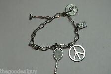 CHARM  BRACELET STERLING SILVER 925 15 Grams used 5 CHARMS PEACE, RACKET MUSIC +