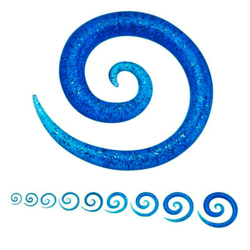 Details about  /PAIR-Tapers Spiral Glitter Blue Acrylic 03mm//8 Gauge Body Jewelry