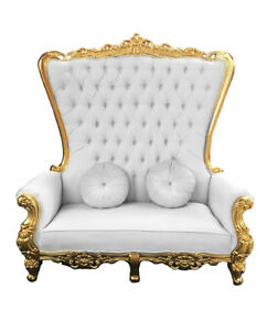 Image Is Loading Double High Back Chair Queen Throne In White