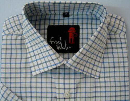 Da Uomo Manica Corta Big Size Estate Check Shirt 2XL 4XL Misto Cotone