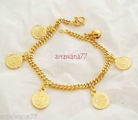 Coins 22K 23K 24K THAI BAHT YELLOW GOLD GP  Bracelet  7 inch B_45