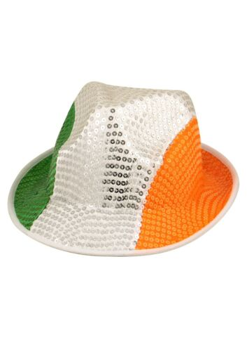 6//12//18x Irish Tri Colour Green//White//Orange Sequin Gangster Hat St Patricks Day