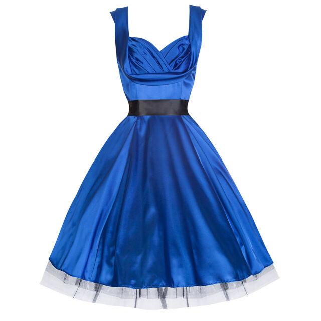PRETTY KITTY ROCKABILLY BLUE VINTAGE SATIN SWING PARTY COCKTAIL PROM DRESS 8-18