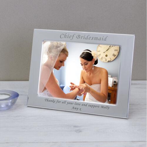 Fête de mariage rôle Plaqué Argent Cadre Photo 6x4-personnalisé gravé cadeau