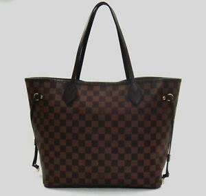 76a525ac581e Image is loading Louis-Vuitton-Damier-Ebene-Rose-Ballerine-Neverfull-MM-
