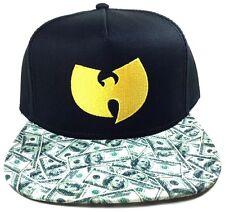 WU-TANG CLAN SNAPBACK HAT CAP CASH MONEY FLAT BILL ADJUSTABLE BLACK YELLOW LOGO