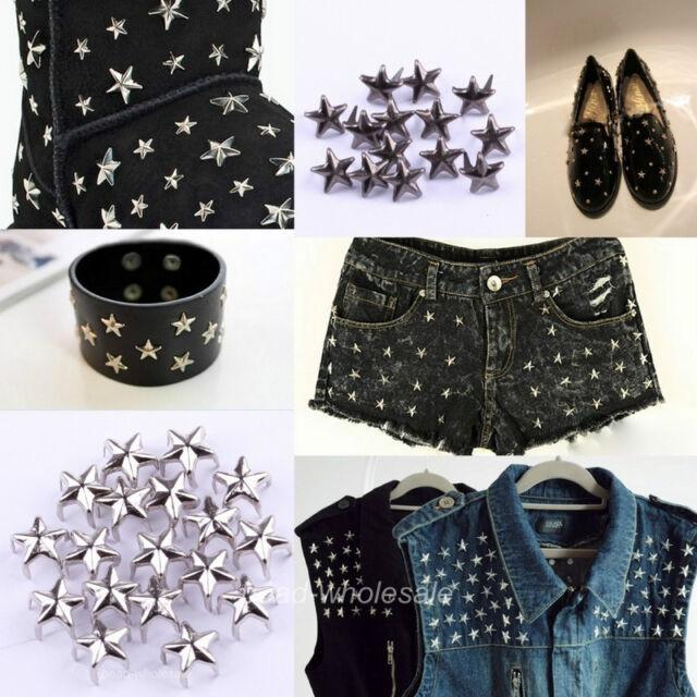 Fashion 200pcs Punk Rock Star Shaped Stud Rivet Spike Bags/Shoes/Costume Craft