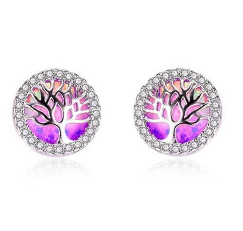 1 Paire Fashion argent 925 bijoux arbre rose opale de feu Charme Boucle d/'oreille à clous pour NEUF