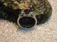 2.50 Carat Natural Oval Cut Rhodolite Garnet Platinum Over .925 Ring Size US9