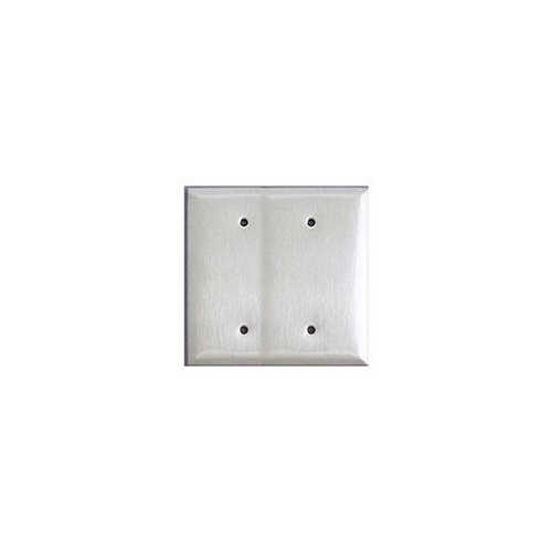 Leviton 84034-40 2-Gang No Device Blank Wallplate Stainless Steel Strap Mount