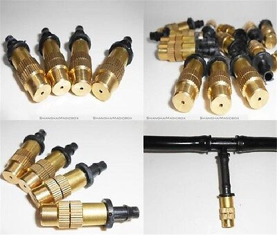 10 Pcs Adjustable Misting Nozzle Gardening Water Cooling Brass Spray Sprinkle S2