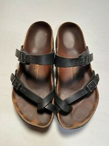 Women-039-s-Birkenstock-039-Mayari-039-Toe-Strap-Sandal-Black-Leather-Sz-38-US-7-7-5-99
