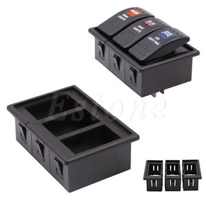 Details about 3 Rocker Switch Clip Panel Assembly Patrol Holder Housing For  ARB Carling Type