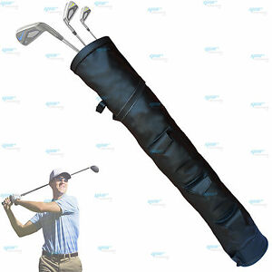Black-Rx-F-Leather-Golf-Club-Ball-Bag-Three-Pockets-H-34inch-D-5-5inch-NEW