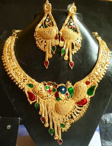South Indian 22k Gold Plated Peacock Meenakari Necklace Earrings Wedding Set