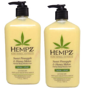 Lot-of-2-Hempz-Sweet-Pineapple-And-Honey-Melon-Moisturizer-Lotion-17oz-Bottles