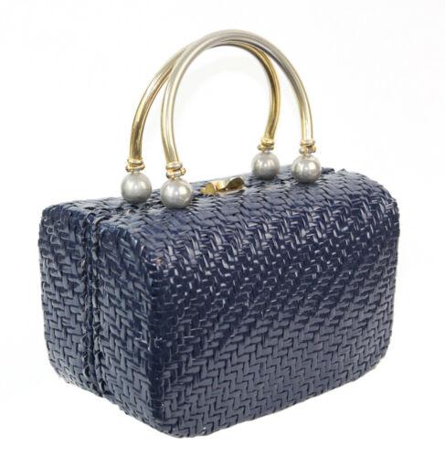 LEWIS Crown Lewis Navy Blue Glossy Boxy Handbag Me