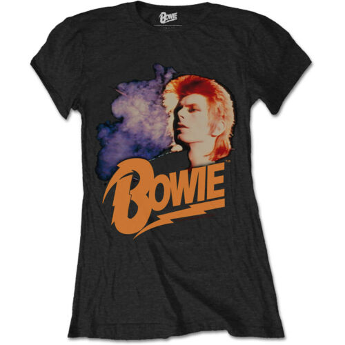 David Bowie Retro Bowie Official Ladies Black T-Shirt Vintage Ziggy Girls Womens