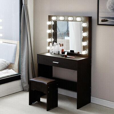 12 Led Light Mirror Stool, Vanity Table Set With Lighted Mirror Stool