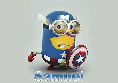 Childrens/kids A4 Minions Captain America dinner mat/place mat. Personalised