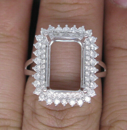 Fine Jewelry Precious Metal Without Stones Hold Emerald Cut 10×13mm Solid 14kt White Gold Natural Diamond Semi Mount Ring Wide Varieties