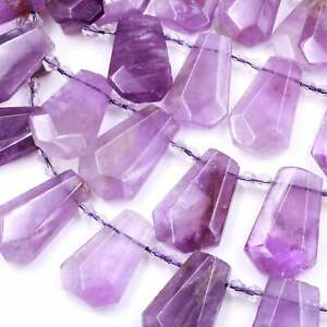 Amethyst raw top drilled teardrop beads natural quartz gemstones 16 strand