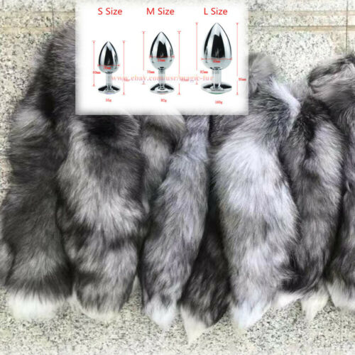50cm Real Silver Blue Fox Fur Tail Anal-Butt Plug Funny Toy Adult Games Cosplay