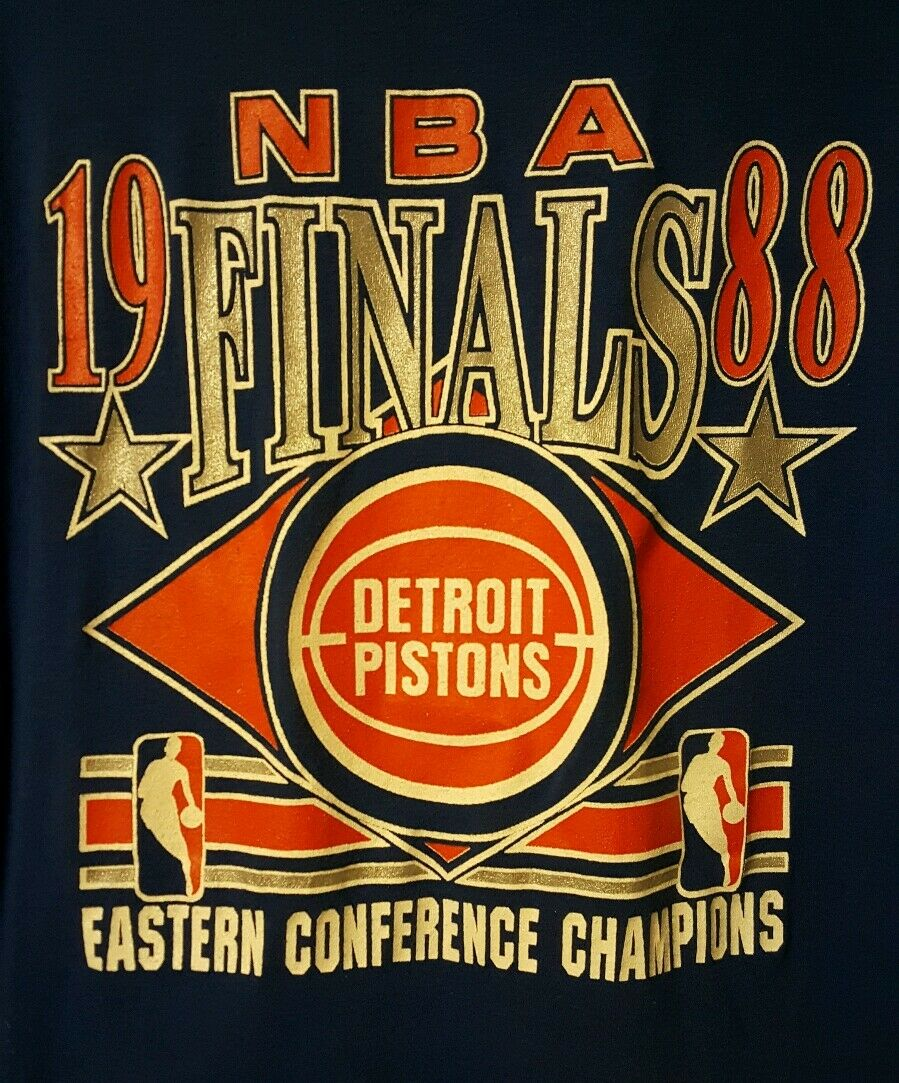 Vintage 1988 NBA FINALS PRE-OWNED Detroit Pistons East Conf. Champions Size X